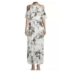 Calvin Klein cold shoulder floral maxi dress